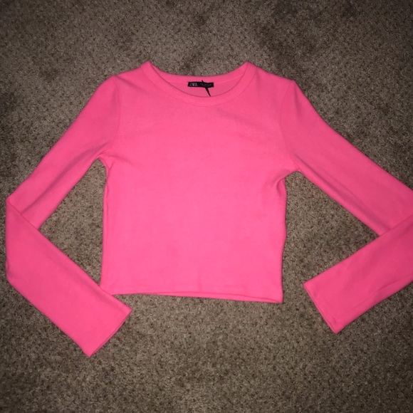 52abe23a Neon Pink Crop Top Sweater NWT